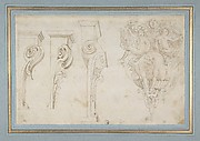 Design for Three Consoles Decorated with Foliage and Volutes and a Console with a Satyr Head Surmounted by Three Human Figures, Garland and Foliage
