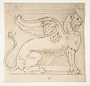 Unidentified, furniture support with winged lion motif, elevation