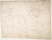Marine bull, detail (recto) blank (verso)