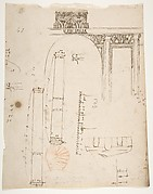 S. Costanza, drum, interior, elevation; column shafts, profiles; narthex, section; stair, detail plan (recto) stair, plans; window, elevation (verso)