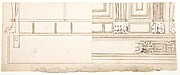 Unidentified building, elevation and section elevation (recto) Corinthian column base, elevation (verso)