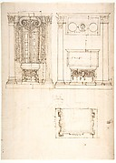 Unidentified, funerary altar, plan and elevations (recto) S. Giovanni Laterano, Oratorio della Santa Croce, paneling, elevation (verso)