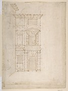 Elevation of Giulio Romano's House (recto); the Ruins from the Caelius Aqueduct and Temple of Claudius in Rome (verso)