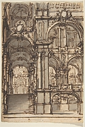 Design for a Stage Set:  Stairway and Arcades Leading to a Salone