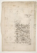 Temple of Castor and Pollux, soffit panel, ceiling plan (recto) Unidentified, stucco or fresco, details (verso)