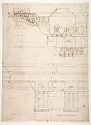Basilica Ulpia, cornice, elevation profile with ornamental detailing; Domus Turciorum, entablature, elevation profile (recto) Domus Turciorum, elevation, perspective (verso)