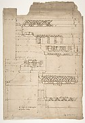Arch of Septimius Severus, entablature, elevation; attic, base, elevation (recto) Arch of Septimius Severus, archivolt, elevation; impost, elevation; entablature, elevation; column base, elevation; column, plan (verso)