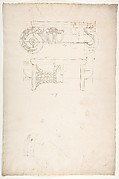 Unidentified, Ionic capital, front and side elevations with small studies (recto) calculation notes (verso)