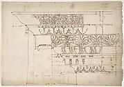 Domus Augustiana, cornice, elevation in profile, ornamental detailing (recto) Unidentified, cornice, elevation in profile, ornamental detailing (verso)