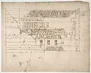 Arch of Camigliano, cornice, elevation in profile, ornamental detailing (recto) Unidentified, Doric capital; Arch of Camigliano, cornice, profile, sketch (verso)