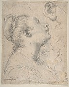 The Head and Shoulders of a Woman in Profile; Separate Studies of Her Head and Ear (recto); Fragment of Drapery Study, Profile of Architectural Molding (verso).