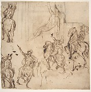Studies of Horsemen and Study of a Figure for a Deposition (recto); Sketch for an Entablature (verso)