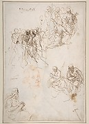 Figure Studies: The Arrest of Christ?, Christ and the Canaanite Woman, Seated Male Figures, and Head of a Child (recto); Studies of an Arm, and of the Heads of an Old Man and Young Woman (verso)