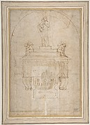 Design for a Wall Tomb or Monument (Recto); Smaller Variant Version with Half Length Madonna & Child on Crescent Moon (Verso)