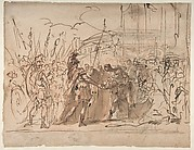 The Head of Pompey Presented to Julius Caesar (recto); Study for an Elaborate Door Frame (verso)