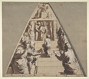 Presentation of the Virgin in the Temple (below), Abraham about to Sacrifice Isaac (above)