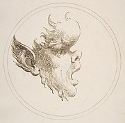 Grotesque Head With a Bulging Forehead Looking to the Right Within a Circle