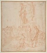 Figure Studies:  Woman holding a Shield, a Dancing Female, and a Priest Supported at an Altar before a Group of Onlookers