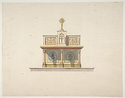 Design for an altar table surmounted by a crucifixion