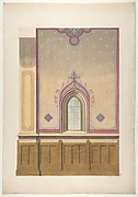 Design for the painted decoration of a wall pierced by an arched window