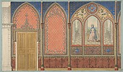 Elevation of a Church or Chapel with designs for ornament and a painted triptych of the Virgin Mary