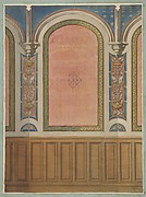 Design for the decoration of wall with wood panels and arched bays