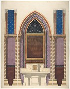 Elevation of a design for an altar and painted wall decoration
