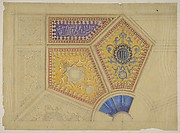Design for the painted decoration of a coffered ceiling