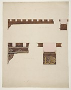 "Designs for the painted decoration of ceiling timbers; one monogrammed: ""LB"""