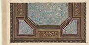 Design for the painted decoration of a coffered ceiling with the monogram:  H