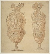 Two Urns Decorated with Human Figures, Animals and Garlands.