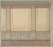 Design for decoration of a wall with painted panels separated by pilasters