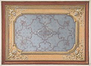 Design for the decoration of a ceiling with urns, swags, and portrait medallions in the four corners