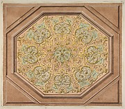 Design for the decoration of a hexagonal ceiling with rinceaux