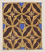 Design for wallpaper featuring blue shields surmouted by crowns