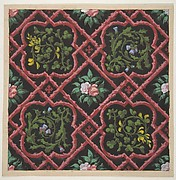 Design for wallpaper featuring flowers and latticework