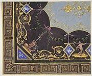Design for wallpaper with Roman key border, rinceaux, and medallions
