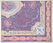 Wallpaper design featuring bouquets of roses, strapwork, and rinceaux