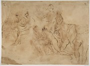 Figure studies: copy in reverse of a Raphael drawing in Frankfurt which is a study for the Disputa