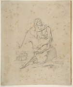 Seated Male Figure with Pipe in a Landscape