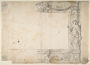 One Half of a Design for a Frame of a Stage Proscenium, with a Figure of Justice at the Right, and the Barberini Arms in a Cartouche at the Top