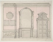 Design for treatment of a chimney-piece and adjacent door