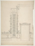 Elevation of a room with designs for the decoration of walls and wainscot