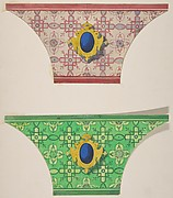 Two designs for the painted decoration of ceiling coves with cartouches
