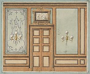 Elevation of a paneled interior with double doors and gaslight sconces