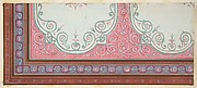 Partial design for the decoration of a ceiling with scrollwork and a border of ribbons and berries