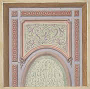Partial design for the decoration of a ceiling with an oval panel at center