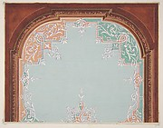 Designs for a painted ceiling with filagree borders