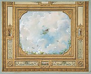 Design for a ceiling decorated with clouds and birds