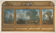 Elevation of a paneled interior decorated with painted landscapes and coves with cartouches and flowers